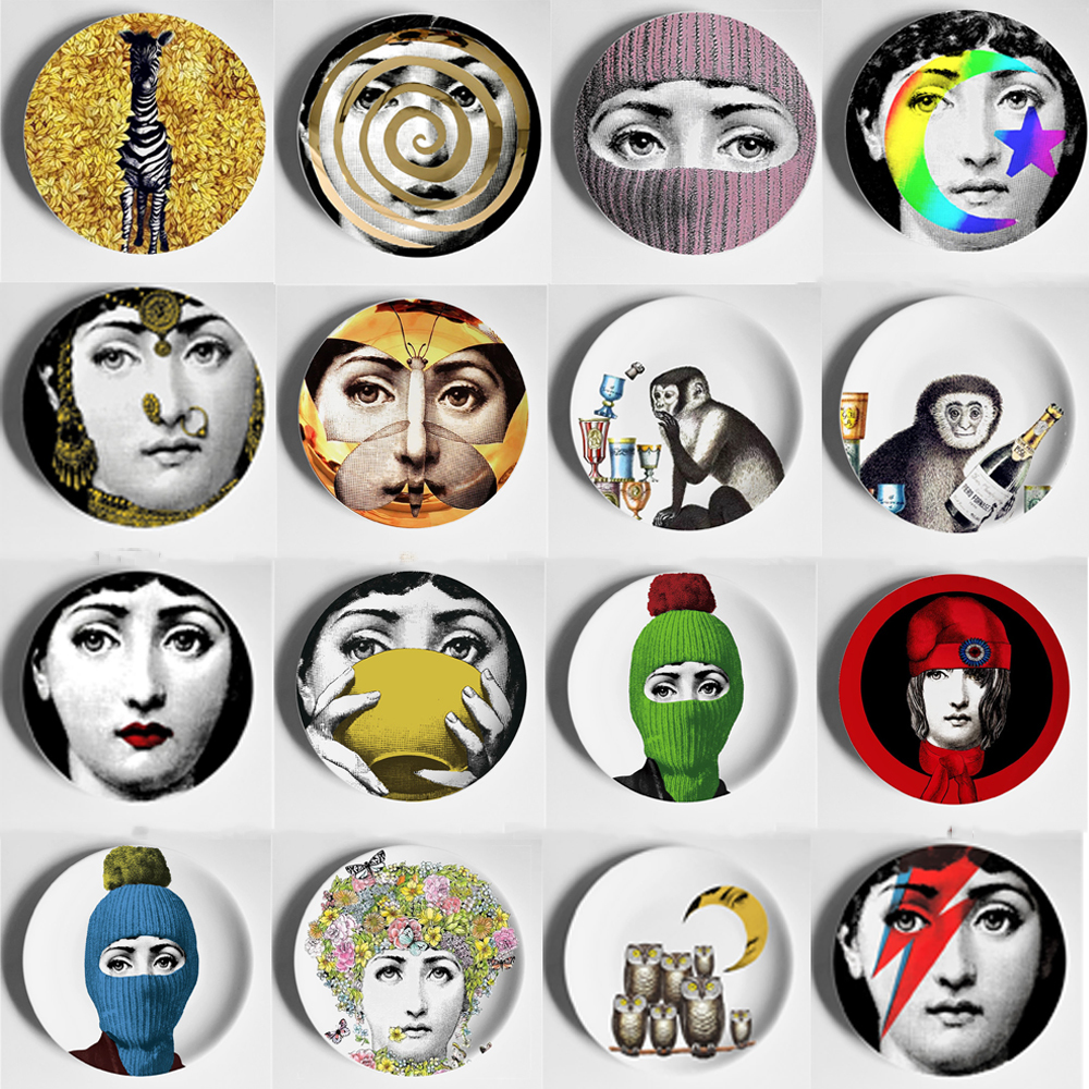 8 Inch Vintage Fornasetti Plates Nordic Home Studio Hotel Bar Decorative Background Wall Hanging Art Craft Dishes