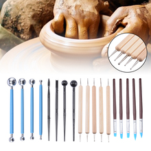 18 PCS Pottery Ceramics Tools Polymer Clay Modeling Tools Wax Carving Sculpt Tool Pottery & Ceramics Handle Modeling Clay Tools top sale clay sculpting sculpt smoothing wax carving pottery ceramic tools polymer shapers modeling carved knife wood handle set