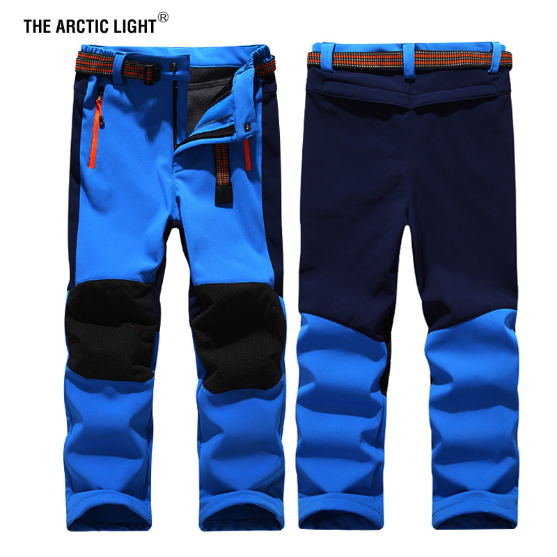 THE ARCTIC LIGHT Child Ski Pants Hiking Camping Boy Girl Waterproof Breathable Soft Shell Thick Trekking Trousers Keep Warm