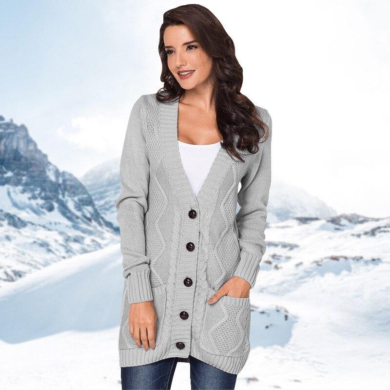 Fashion Autumn winter Warm womens knitted sweater new open button pocket woven Cardigan Loose coat Outwear women knit Jacket