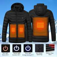 Novo universal inverno aquecimento elétrico casaco com capuz jaqueta controle de temperatura abdômen usb volta segurança inteligente colete roupas|Roupas de segurança| |  -