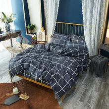 Stylish Simplicity Gray Plaid Comforter Bedding Sets Quilt Cover Bed Sheet Pillowcase Sets 2/3/4pcs King Queen Full Twin Size(China)