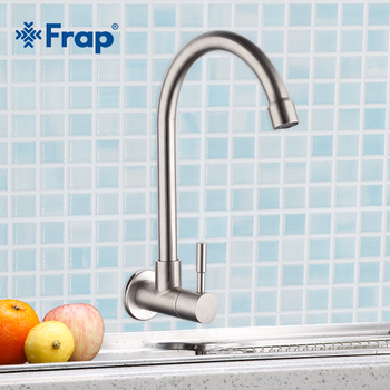 Frap Kitchen Faucet Wall Mounted Mixers Sink Tap Single Cold Water Flexible 304 Stainless Steel Kitchen Tap Accessories Y40530 stainless steel wall mounted kitchen faucet wall kitchen mixers kitchen sink tap 360 degree swivel flexible hose double holes