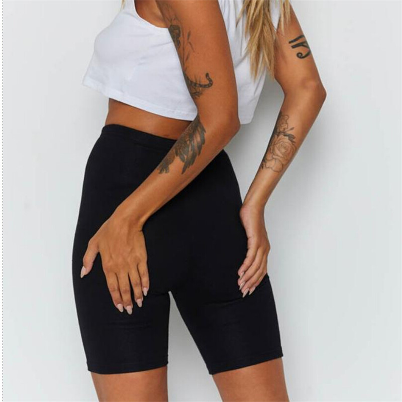 Ladies Outdoor exercise Plain Active Summer Cycling Shorts Stretch Basic Short Hot Solid Black Soft wear