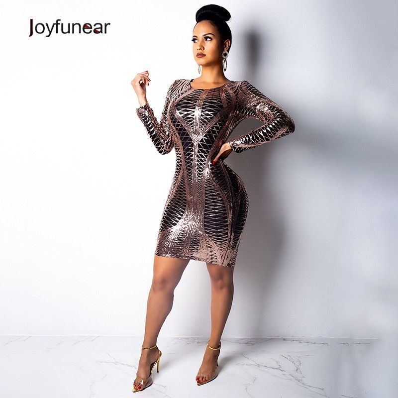 Joyfunear 2019 O Neck Long Sleeve Bodycon Sexy Dress Women Lining Comfortable Night Clubwear Sequin Dresses Elegant Party Dress
