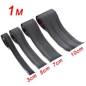Image 1 - 3cm 5cm 7cm 10cm Carbon Fiber Rubber Soft Bumper Strip DIY Door Sill Protector Edge Guard Car Stickers Car Styling Accessories