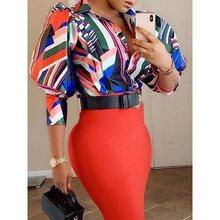 Vintage Color Block Print Summer Fall Shirt Lantern Sleeve Button Women Top Slim Ladies Work XXL Plus Size Office Blouses 2019 patriotic color block stars print shirt