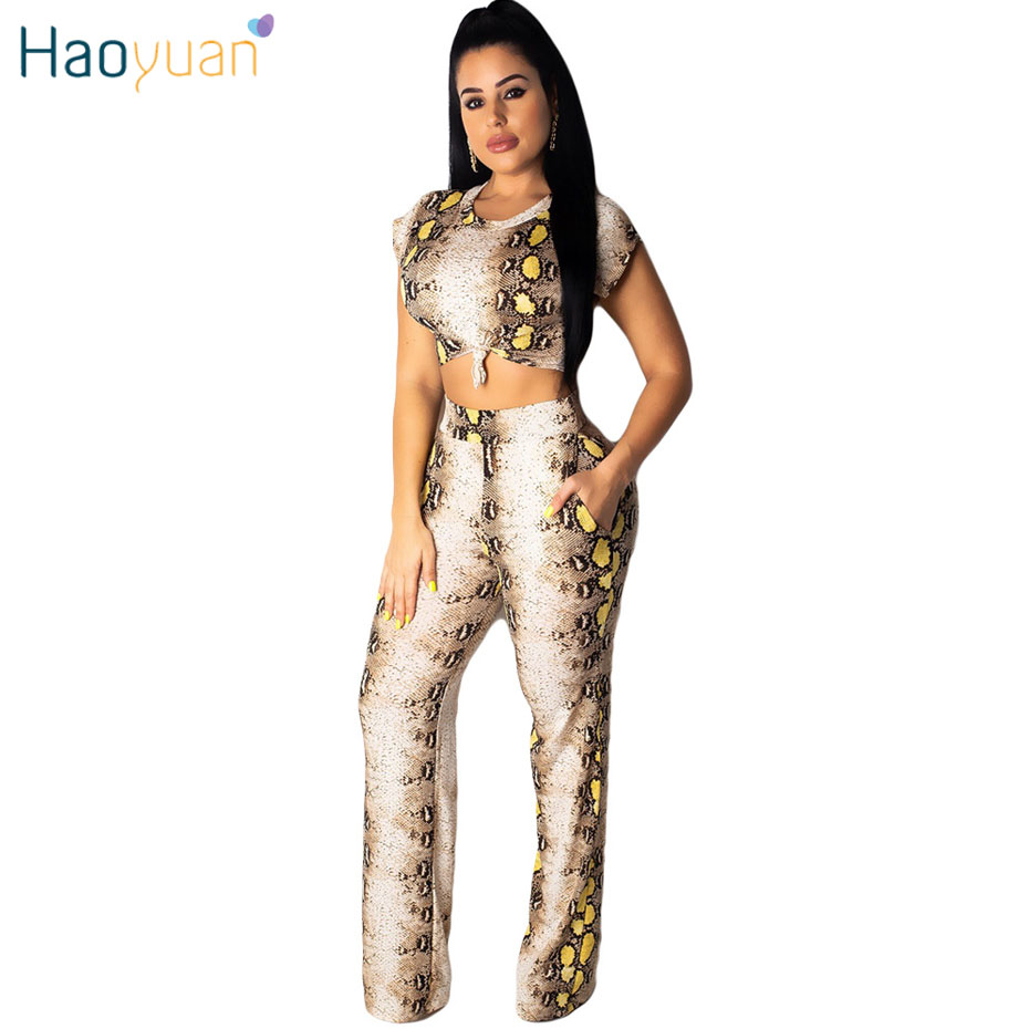 HAOYUAN Snake Skin Print 2 Two Piece Set Women Summer Festival Clothing Crop Top+Wide Leg Pant Matching Sets Sexy Club Outfits