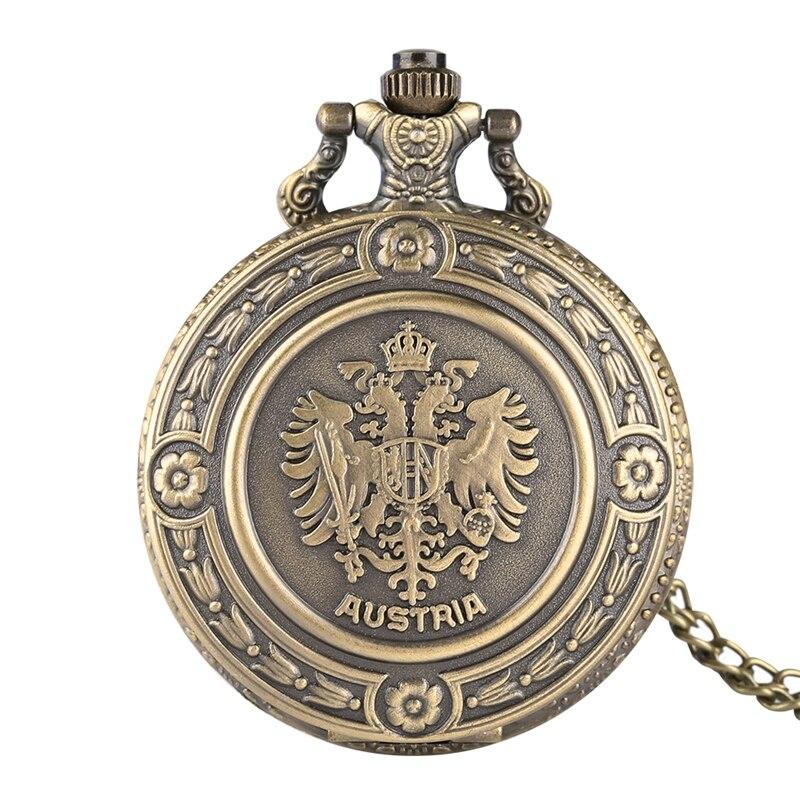 Retro Austria National Emblem Quartz Pocket Watch Necklace Pendant Chain Watch Gifts Floral Rattan Pocket Watch Collectibles