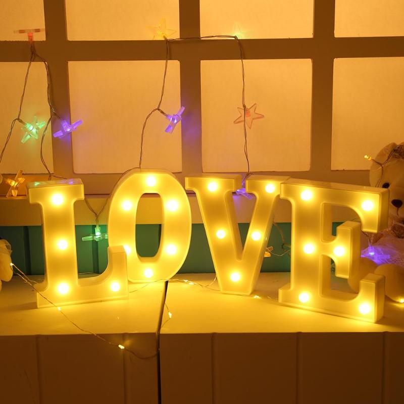 3D 26 Letters Alphabet LED Marquee Sign Light Indoor Wall Hanging Night Lamp White Plastic Letter LED Night Light Party Decor