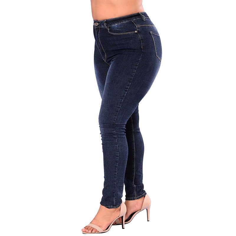 5XL 6XL 7XL Plus Ukuran Tinggi Pinggang Jeans Elastis Denim Jeans Kurus Pensil Celana Ramping Bodycon Stretch Celana Wanita biru