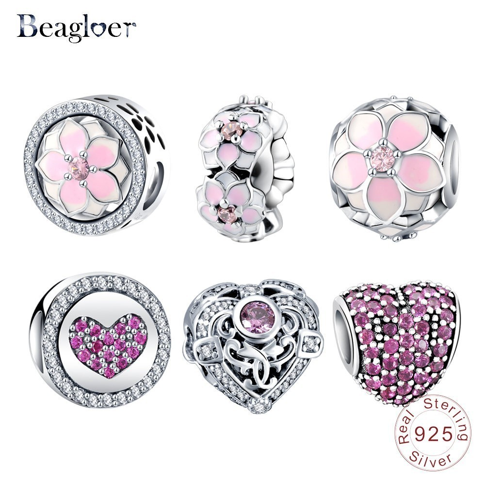 Beagloer Hoge Hoeveelheid Authentieke 925 Sterling Zilver Prinses Hart Charm Beads Fit Pandora Originele Armband Gift Sieraden