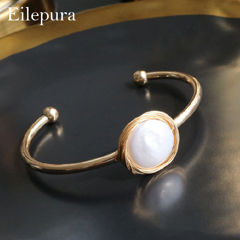 Eilepura Natural Fresh Water Baroque Black Pearl Bracelets Gift For Women Adjustable Bracelets Bangle Fine Jewellery B A012 in Bracelets Bangles from Jewelry Accessories