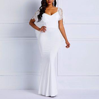 ab99dc2b294 Clocolor Длинное Летнее белое кружевное платье Для женщин спинки Bodycon  пикантные простые элегантные плотная Пром Вечеринка