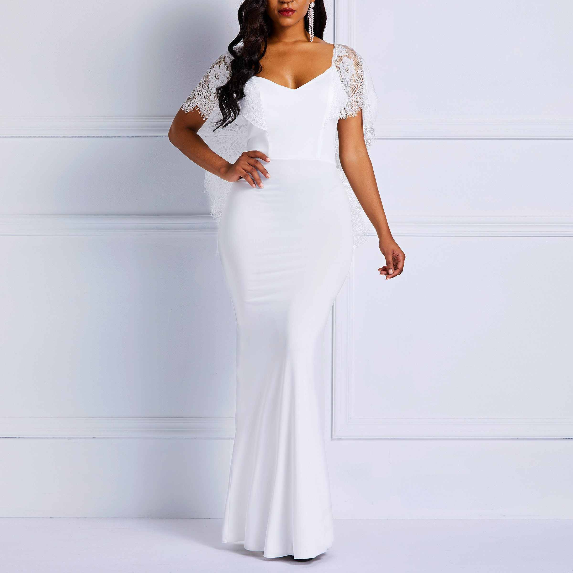 a7e5b5da86d3 Detail Feedback Questions about Clocolor Long Summer White Lace Dress Women  Backless Bodycon Sexy Simple Elegant Plain Prom Evening Party Wedding Maxi  Dress ...