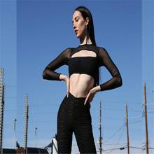 Thefound 2019 Women Sexy Long Sleeve Mesh Stitching Wrapped Chest Solid  Color 062fbfbca3a5