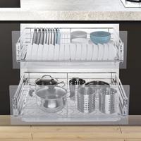И шкаф ящик для сушилка для посуды Organizador нержавеющая сталь Cocina кухня Органайзер кухонный шкаф корзина для хранения