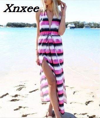 Summer dress deep V colour stripe print sleeveless long dress elegant long beach vestidos bohemian style Xnxee in Dresses from Women 39 s Clothing