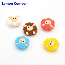 Lemon Comeon 5PCS Mini Sheep Silicone Beads Baby Teethers Food Grade Dentition DIY Teething Toy Making Soother Chain Necklace