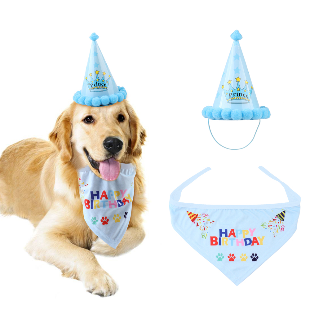 Cute Pet Dog Birthday Bandana Scarf And Hat Doggie Party