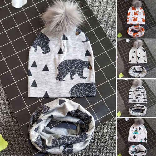 ทารกแรกเกิดเด็กทารก 1-3Y Boy สาว Pom หมวกฤดูหนาวที่อบอุ่นถัก Pom Pom Beanie หมวกผ้าพันคอชุดหมวก