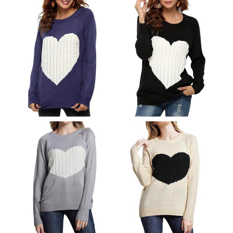 Autumn Women Sweaters Knitted Heart Pattern Print Long Sleeve Loose Tops Casual Fashion O-Neck Pullovers Soft Female Sweater