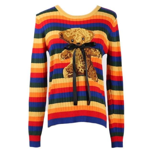 01e8fd8387 Harajuku Sweet Teddy Bear Sweater Women Multi-Color Stitching Knitted Round  Collar Pullover Long Sleeve Tops for Female