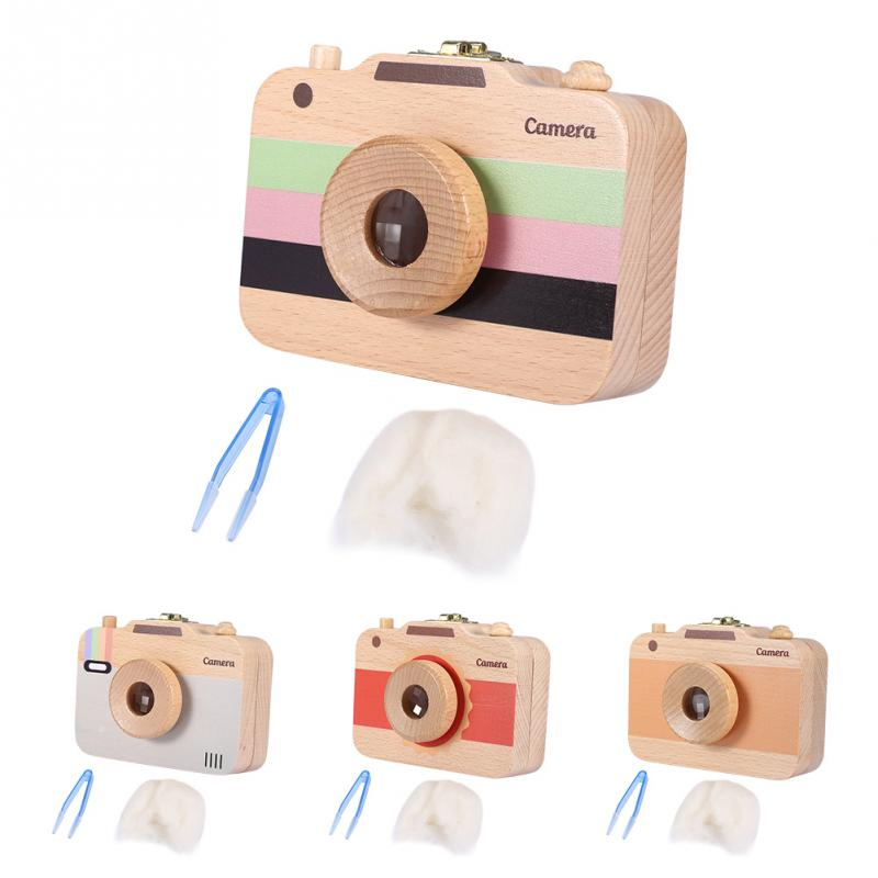 Cute Cartoon Wooden Camera-pattern Storage Box Case For Baby Milk Teeth And Baby Hair Beautiful And Fashionable