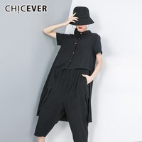 CHICEVER Summer Black Women Two Piece Sets Lapel Short Sleeve Button Irregular Top Clothing With Elastic Waist Harem Pants Sets