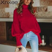купить Xnxee Turtleneck red winter sweater women knit Lantern sleeve white sweater female Loose oversized pullover knitted jumper по цене 1151.49 рублей