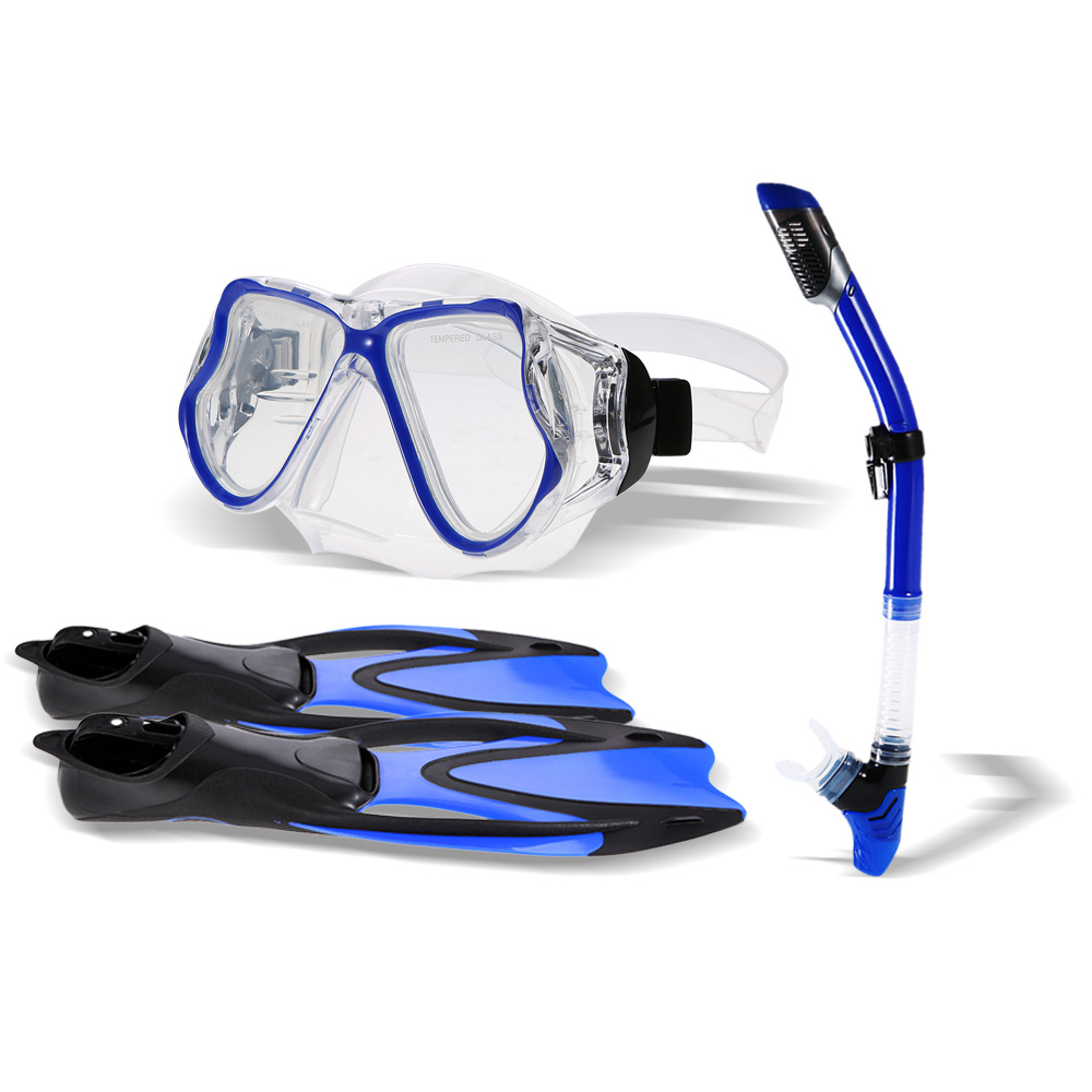 Snorkel Gear Set Snorkel Tube Fin Tempered Diving Mask for Adult Pair of Swimming Fins Diving Glass Snorkel Tube Silicone
