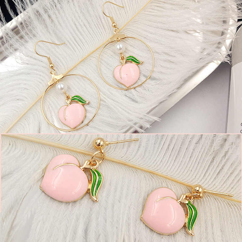 Contracted Joker 1Pair Handmade Party Valentines Gifts Fashion Jewelry DIY Peach Alloy Fruit Pink Drop Earring