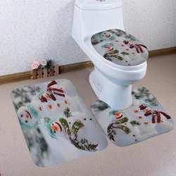 3 шт.. коврик с рождественским узором в ванную комнату нескользящий коврик для ванной комнаты стойка для тряпок сиденье для унитаза
