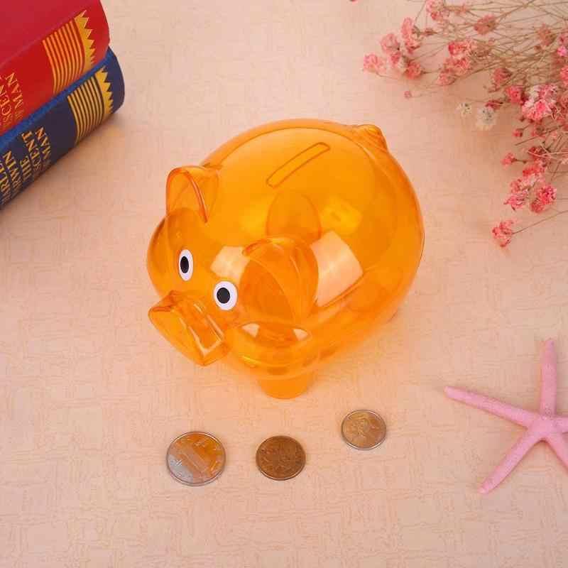 Caixa de poupança de dinheiro crianças caixa de dinheiro/moeda de poupança segura dos desenhos animados porco em forma transparente banco eletrônico decoração para casa presente de natal