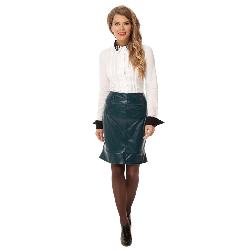 Skirt under the skin with two decorative zippers. canvas pencil skirt with decorative v belt