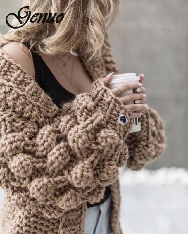 A Mano a Maglia Cardigan Delle Donne di 2019 di Modo di Inverno Cappotto Manica Lunga Cardigan Maglione di Inverno Delle Donne Magliette E Camicette Vestiti Beige - 6