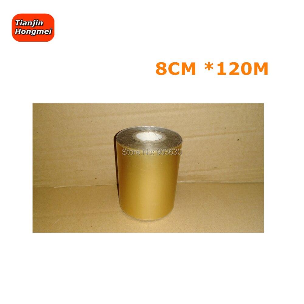 8 CM * 120 M Golden oder Silber Farbe Heißer Folie Stanzen Papier Anzug Für Stempel Maschine DIY LOGO Goldene folie Papier Wirtschaft Wahl