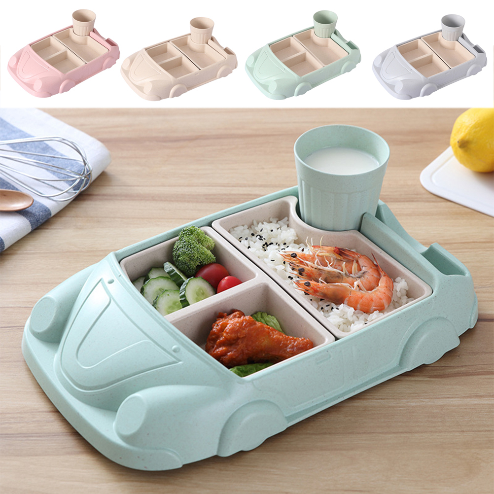 Creative Car Shaped Dinner Tray Drop-proof Rices Dishes Baby Separate Plates Children's Cutlery Set with Water Cup
