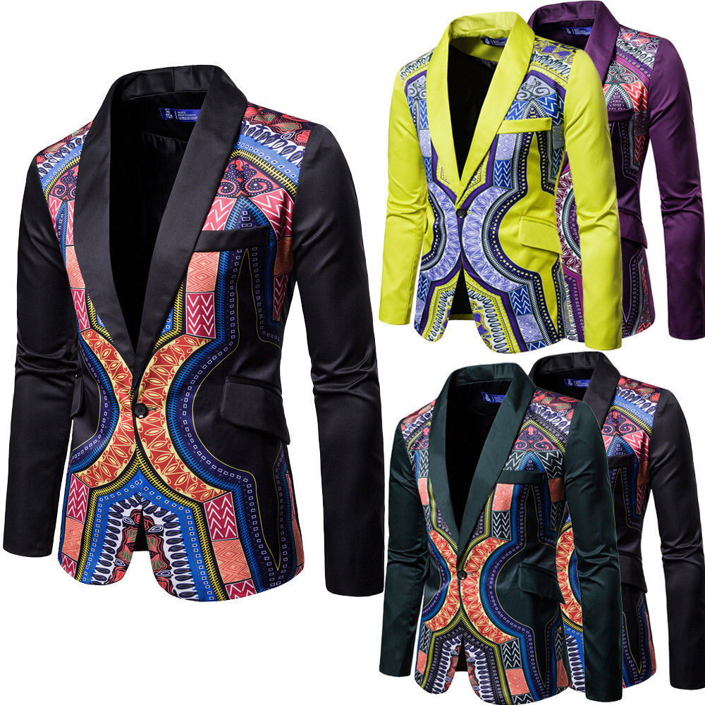 Luxury Mens Single Button Suit Blazer Floral Formal Coat Jacket Weeding Party Casual Blazers Tuxedo Tops