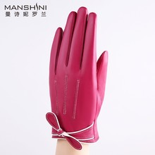 Genuine leather gloves womens fashion lovely bow touch screen velvet lining thick warm telefingers MLZ013