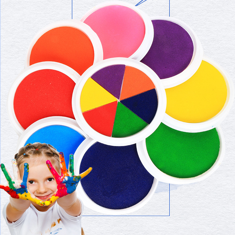 6 Colors Finger Ink Pads Stamps Drawing Toys For Kids Partner Diy Learning Education Baby Washable Painting Craft Toys