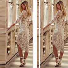 Try Everything Elegant Sexy Dress Women Party Tight White Lace Summer 2019 Slim Long Sleeve Asymmetrical Ladies Dresses