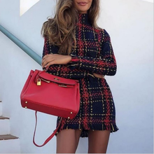 e8ecc311264 hirigin Womens Red Tartan Print Long Sleeve Swing Skater Dress Plus Size  6-14 UK