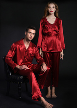 Spring and autumn mens ice silk pajamas womens nightgown red wedding couples clothing Home Furnishing lovers sleepwear