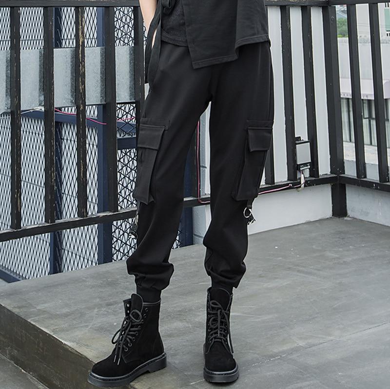 eam Cintura 2019 Harem Sólido Black Con Mujer Primavera De Elástico Largo Color Cordón Negro Bolsillos Le982 Invierno Empalmado Pantalones Alta rrCgwqOx
