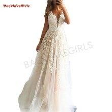 V-neck Long Evening Dresses Lace Appliques Robe De Soiree