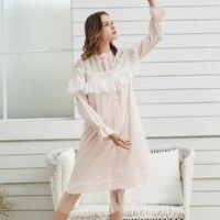 Vintage Nighty Woman Nightgown Viscose Lace Sleepwear Autumn Summer Long Sleeve Nightdress Ladies Negligee Night Gown Women