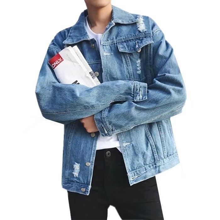 Hole denim jacket autumn New men Single-breasted loose jeans coats mens Solid color Locomotive denim jacket Washed jacket Top