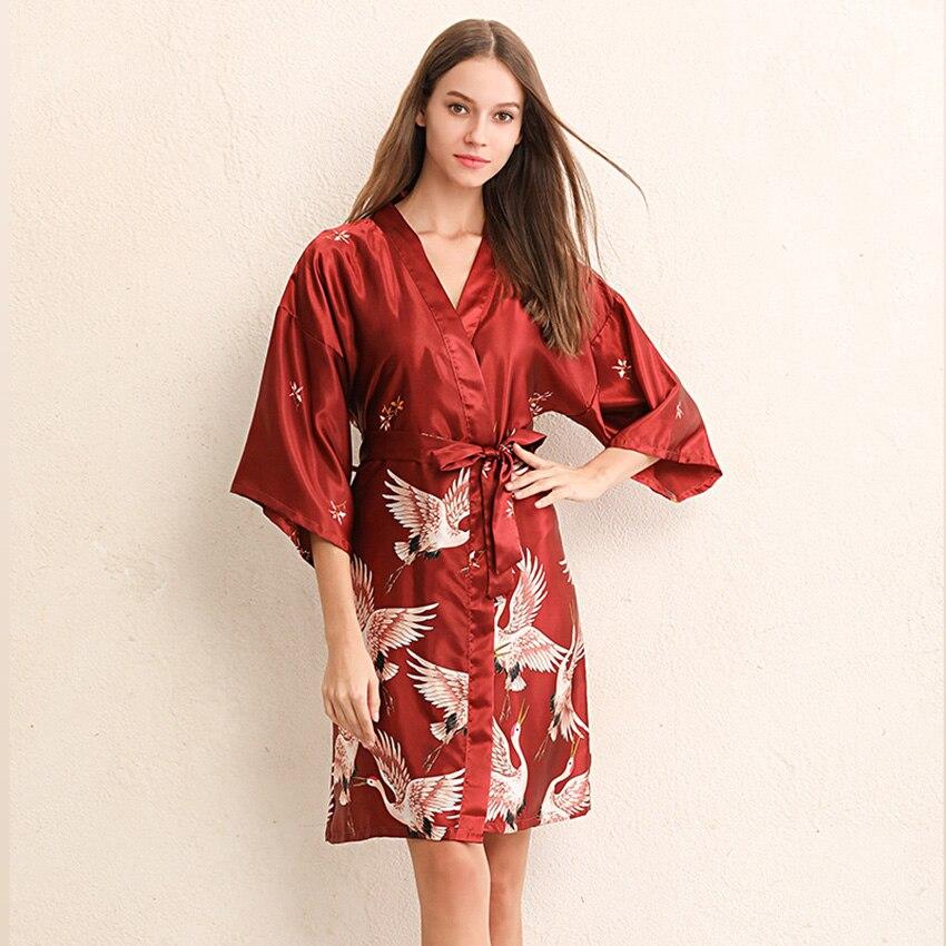 Crane Kimono Japanese Style Sleepwear Satin Dress For Women Plus Yukata Cardigan 2019 News Asian Clothes Fancy Vintage Party