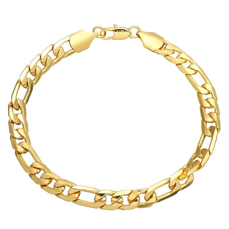 "Figaro 9/"" 12mm 18K Gold Plated Men/'s Curb Bracelet /& Lady/'s Anklet Birthday Gift"